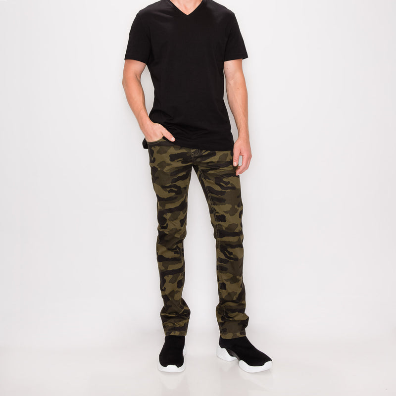 CAMOUFLAGE SKINNY FIT PANTS - OLIVE CAMO