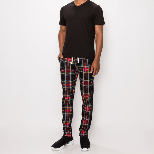 PLAID FITTED JOGGERS PANTS - BLACK