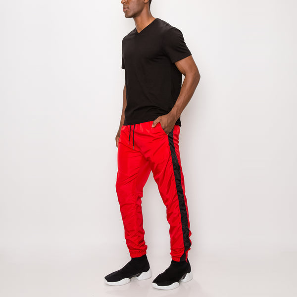 STRIPED WINDBREAKER TRACK PANTS - RED/BLACK