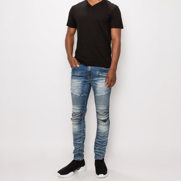 CREASED BIKER DENIM JEANS - INDIGO