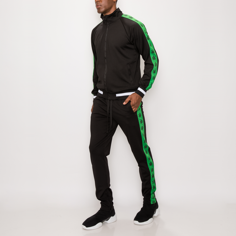 LEAF TRACK SUITS SET -BLACK / GREEN