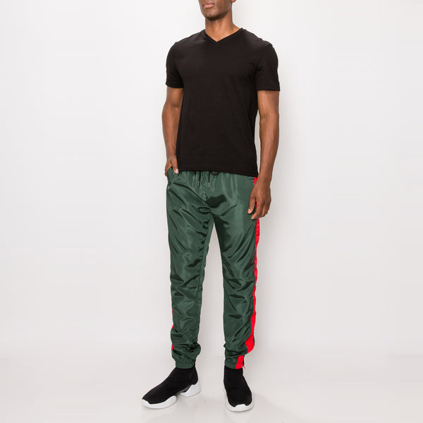 STRIPED WINDBREAKER TRACK PANTS - GREEN/RED
