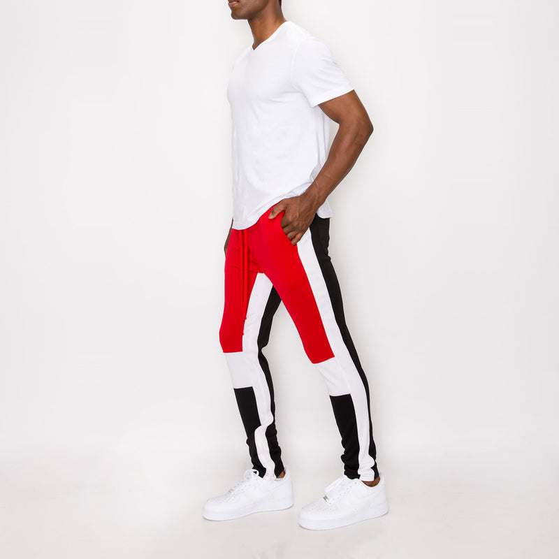 TRI COLOR BLOCKED TRACK PANTS -RED