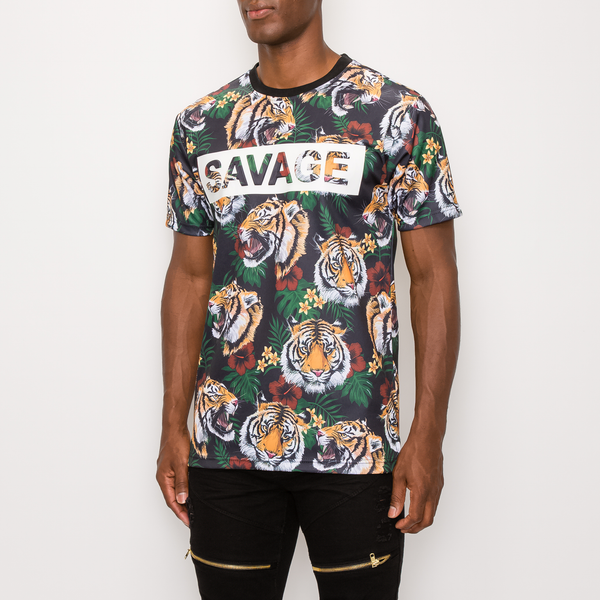 SAVAGE TIGER PRINT T-SHIRT - BLACK