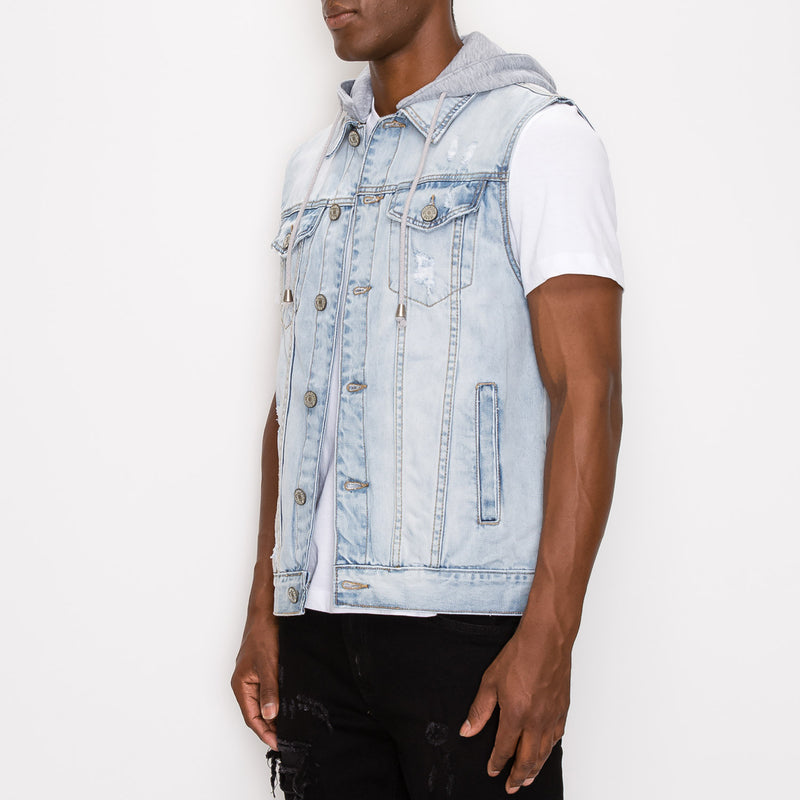 DETACHABLE HOOD DENIM VEST - ICE
