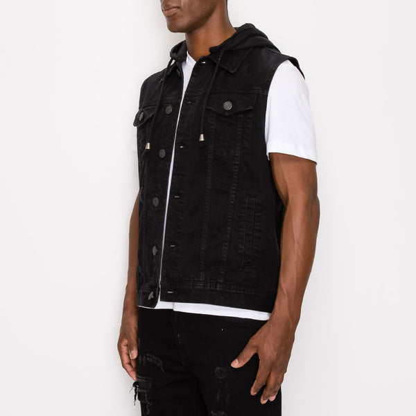 DETACHABLE HOOD DENIM VEST - JET BLACK