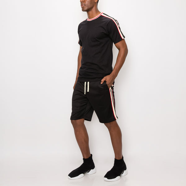 SIDE STRIPE TRACK SHORTS - BLACK