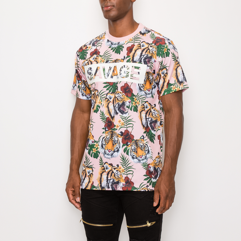 SAVAGE TIGER PRINT T-SHIRT - ROSE