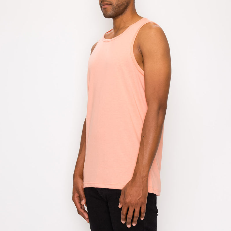 ESSENTIAL STRAIGHT HEM LONG LENGTH TANK TOP - CORAL