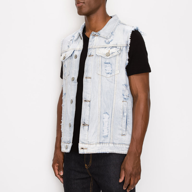 DISTRESSED DENIM VEST - LT INDIGO