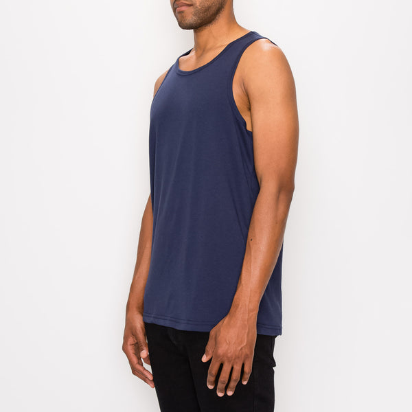 ESSENTIAL STRAIGHT HEM LONG LENGTH TANK TOP - NAVY