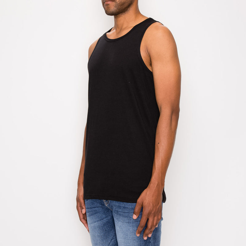 Essential Long Length Tank Top - BLACK