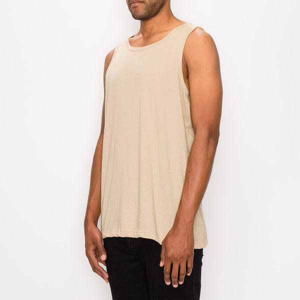 ESSENTIAL STRAIGHT HEM LONG LENGTH TANK TOP - KHAKI