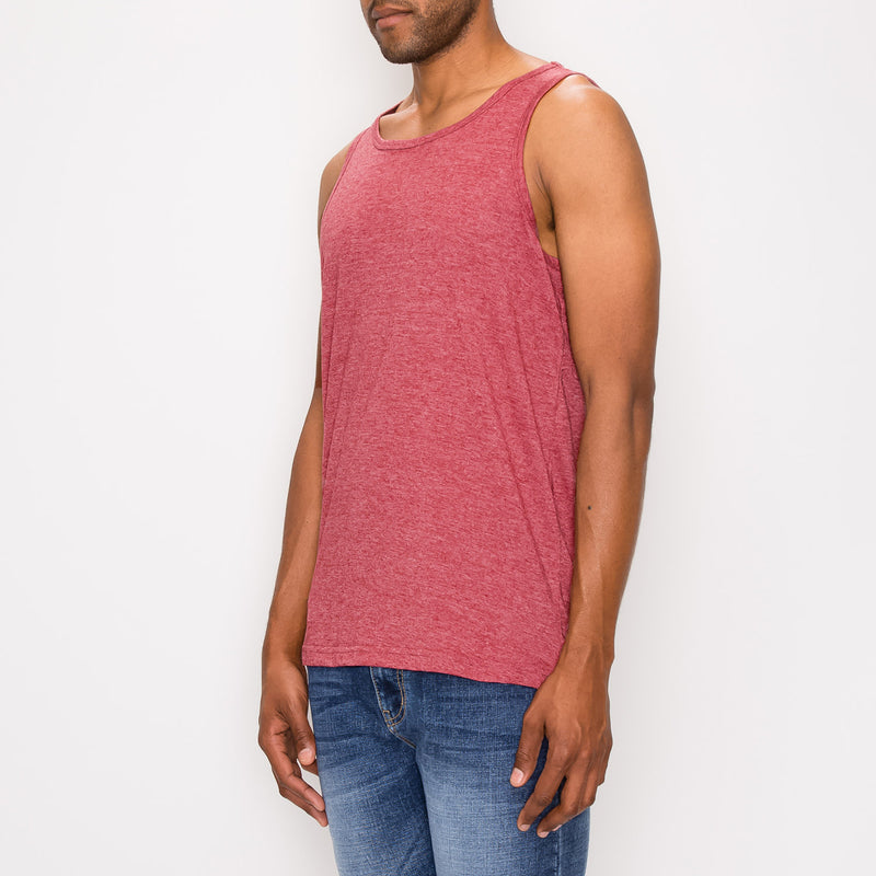 ESSENTIAL STRAIGHT HEM LONG LENGTH TANK TOP - BURGUNDY