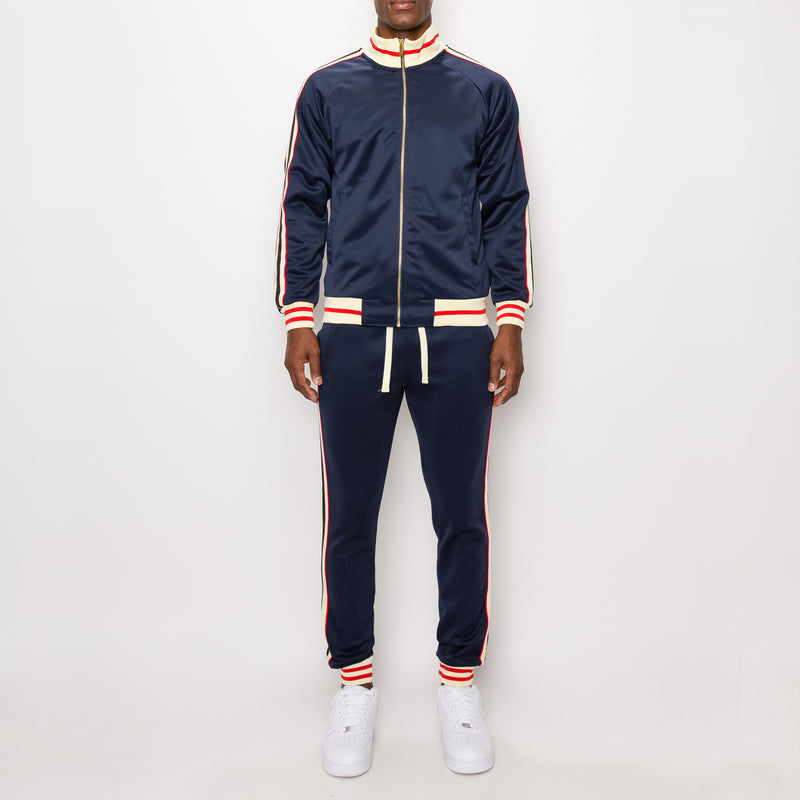 SIDE STRIPE TRACK SUITS - NAVY