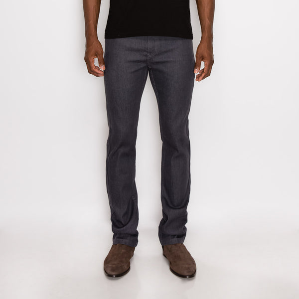 SLIM RAW DENIM JEANS - CHARCOAL