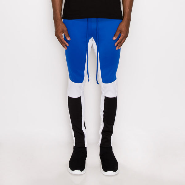 TRI COLOR BLOCKED TRACK PANTS - ROYAL BLUE