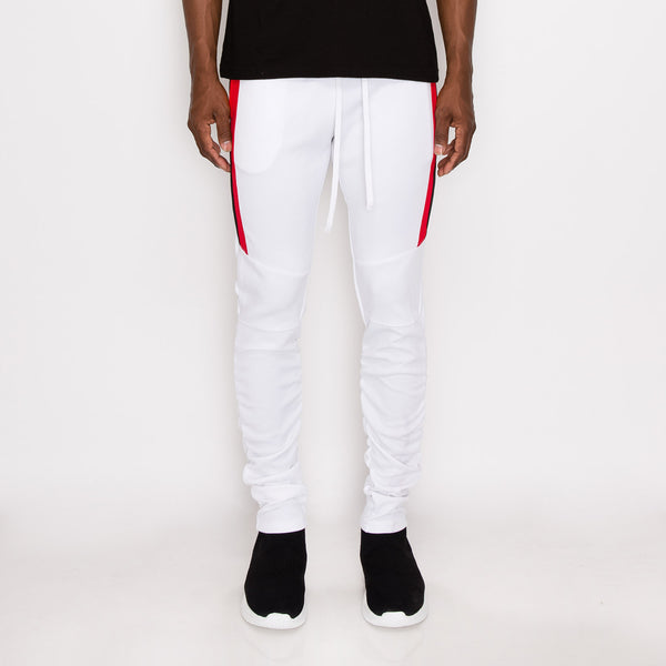 Scrunched Bungee Double Striped Track Pants - WHITE