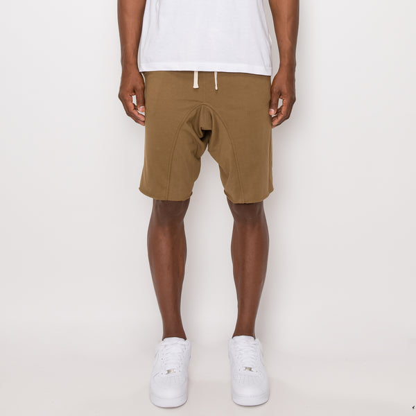 DROPPED CROTCH SWEAT SHORTS - OLIVE