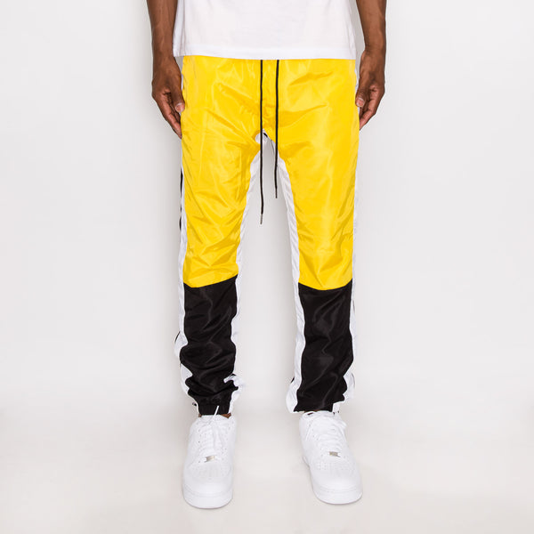 TRI COLOR WINDBREAKER TRACK PANTS - GOLD