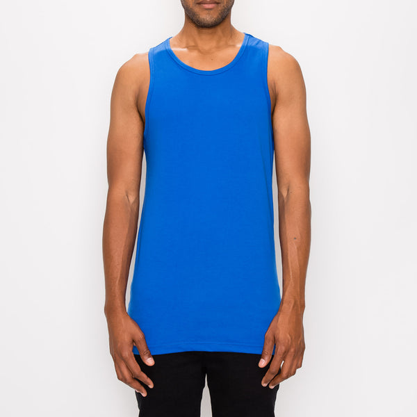 ESSENTIAL STRAIGHT HEM LONG LENGTH TANK TOP - R. BLUE