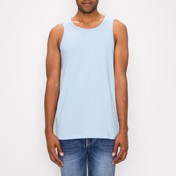 ESSENTIAL STRAIGHT HEM LONG LENGTH TANK TOP - SKY BLUE