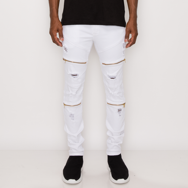 DISTRESSED ZIPPER DENIM JEANS - WHITE
