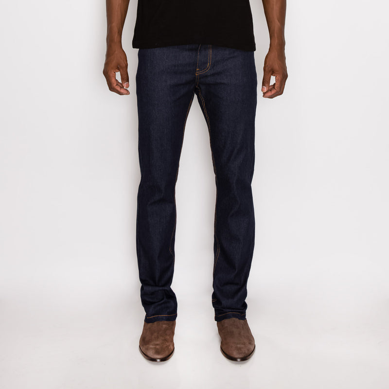 SLIM RAW DENIM JEANS - INDIGO / TIMBER