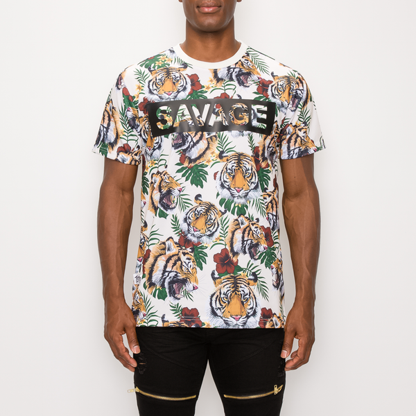 SAVAGE TIGER PRINT T-SHIRT - OFF WHITE