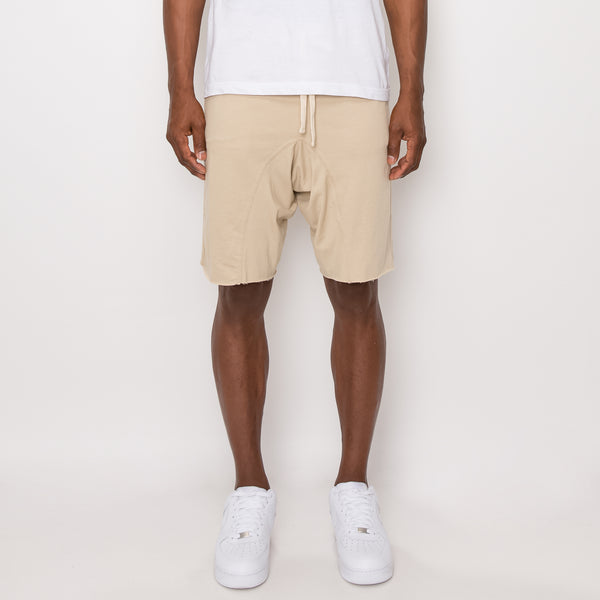 DROPPED CROTCH SWEAT SHORTS - KHAKI