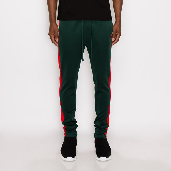 SKINNY FIT STRIPED TRACK PANTS - GREEN / RED