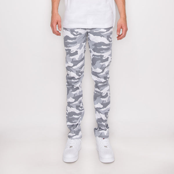 CAMOUFLAGE SKINNY FIT PANTS - WHITE CAMO