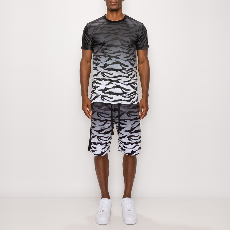 TIGER CAMO GRADATION TRACK SUITS SET - BLACK