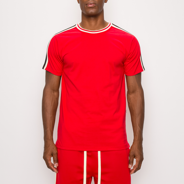 SIDE STRIPE TRACK T-SHIRTS - RED