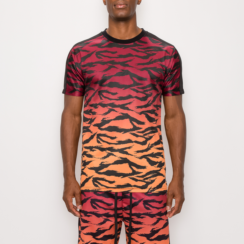 TIGER CAMO GRADATION T-SHIRTS -RED