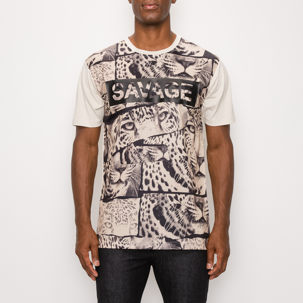 SAVAGE TIGER PRINT T-SHIRT - TAN