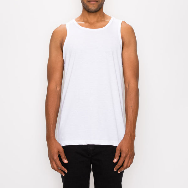 ESSENTIAL STRAIGHT HEM LONG LENGTH TANK TOP - WHITE