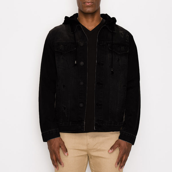 LAYERED HOODED DENIM JACKET - BLACK