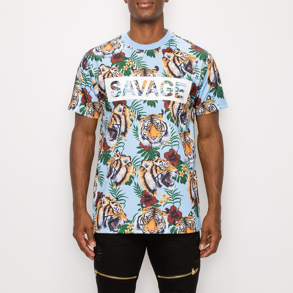 SAVAGE TIGER PRINT T-SHIRT - NEW SKY