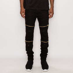 DISTRESSED ZIPPER DENIM JEANS - BLACK