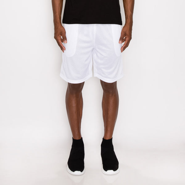 MESH BASKETBALL SHORTS - WHITE