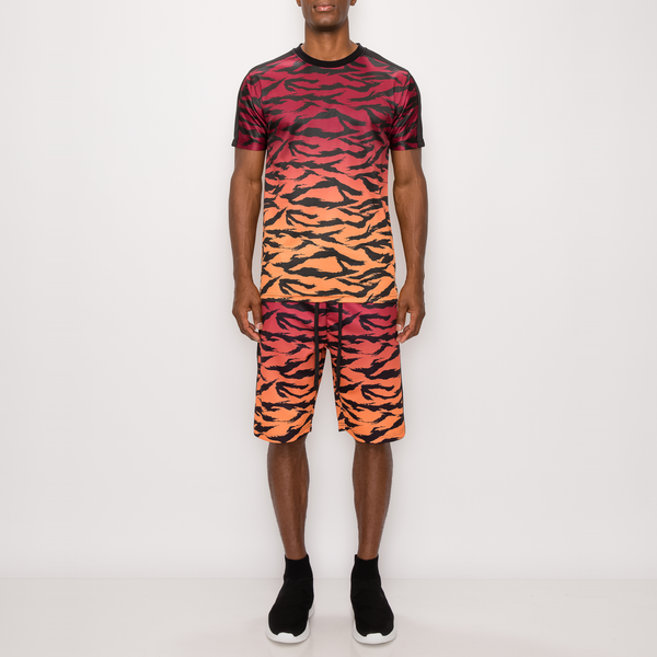 TIGER CAMO GRADATION TRACK SUITS SET - RED