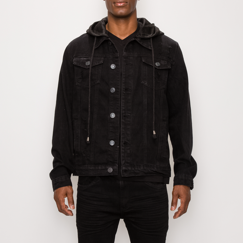 DETACHABLE HOOD DENIM JACKET - BLACK