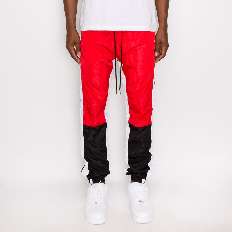 TRI COLOR WINDBREAKER TRACK PANTS - RED
