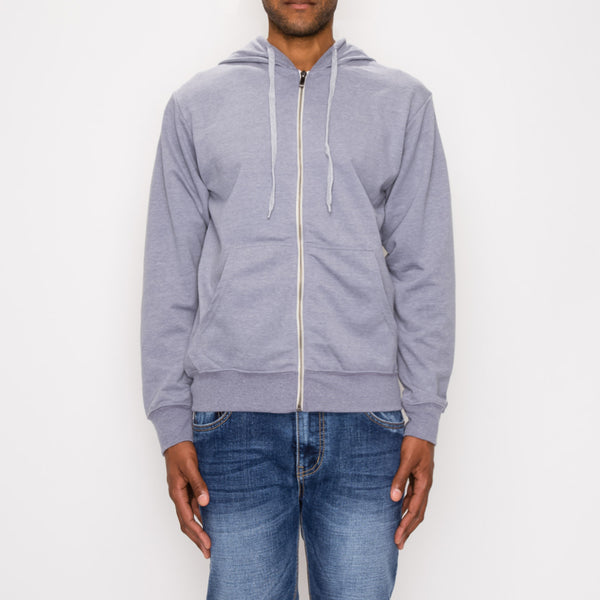 FRENCH TERRY ZIP DOWN HOODIE - GREY