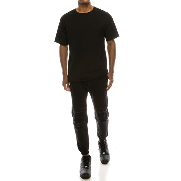 DISTRESSED COLOR JOGGER PANTS - BLACK
