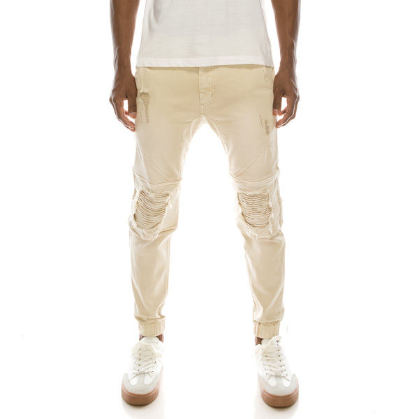 DISTRESSED COLOR JOGGER PANTS - SAND