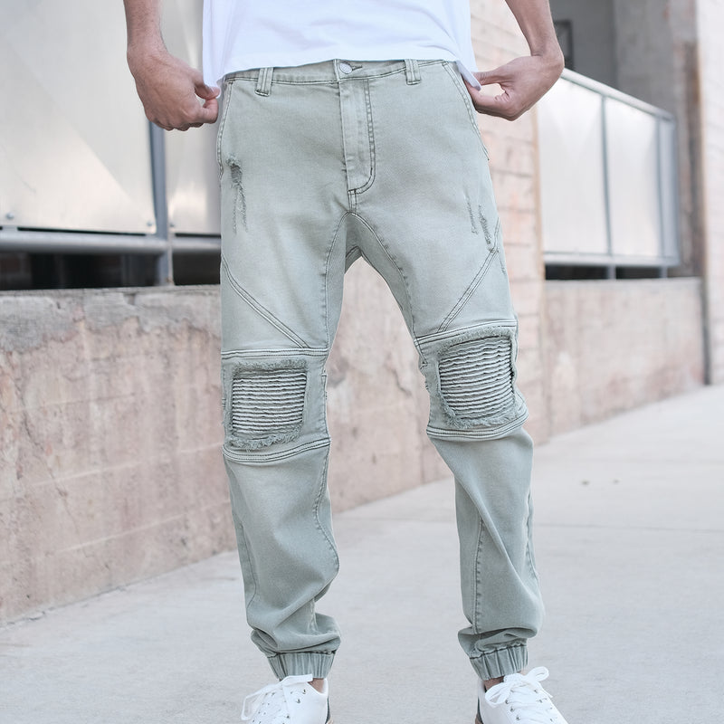 DISTRESSED COLOR JOGGER PANTS - JADE
