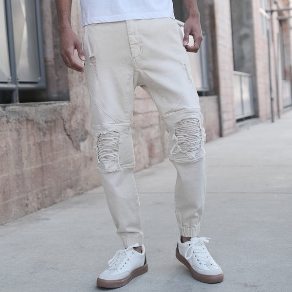 DISTRESSED COLOR JOGGER PANTS - SAGE
