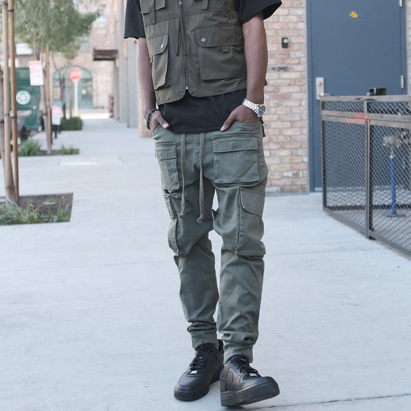 VELCRO CARGO JOGGER PANTS - OLIVE